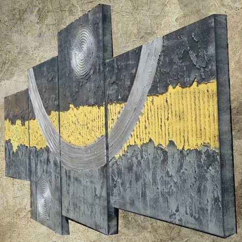 Abstract paintings A074 grey yellow 90x190x4