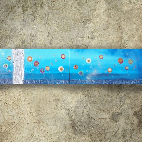 Textured blue paintings A135 abstract diptych