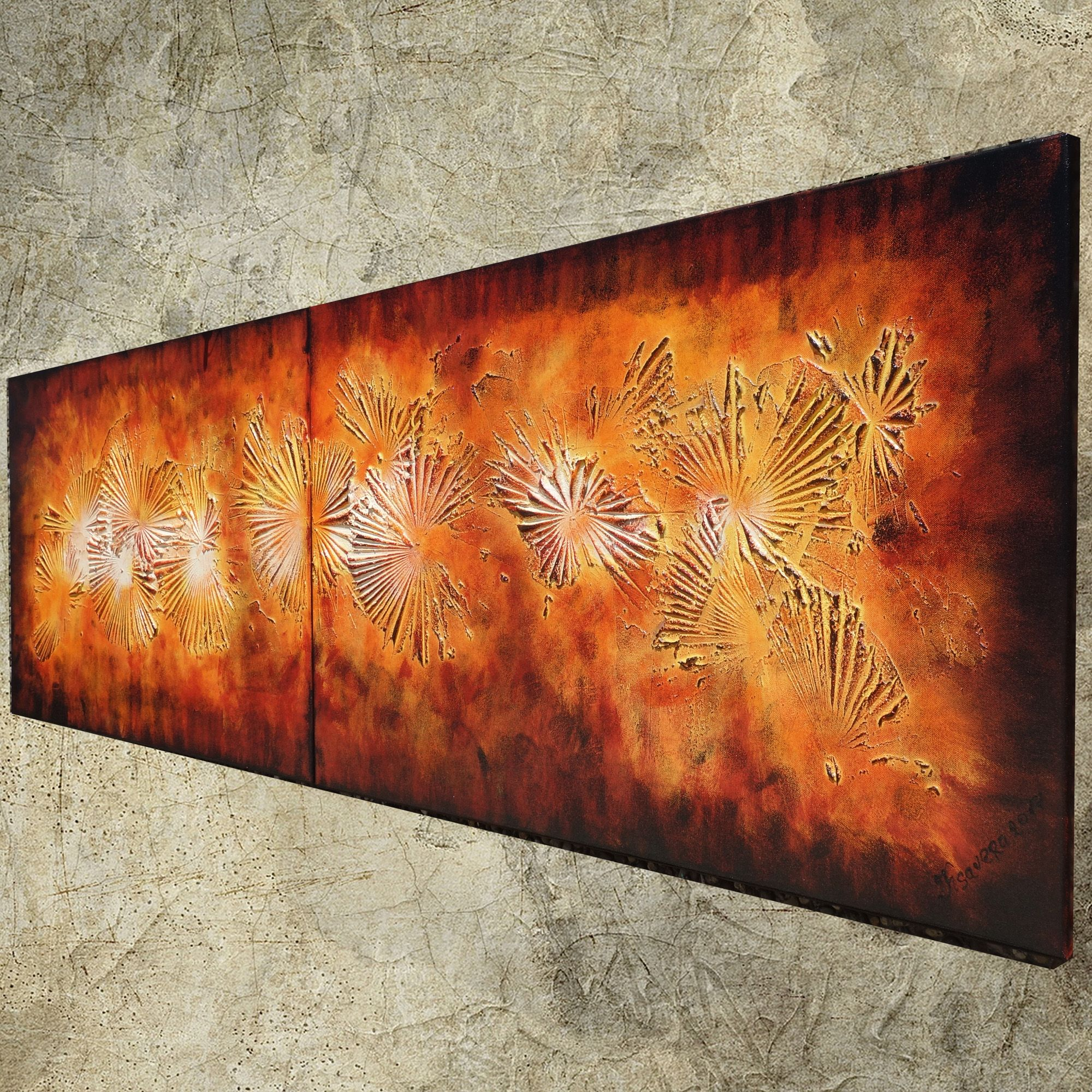 Fire lava abstract textured paintings diptych by Ksavera ART Artboost