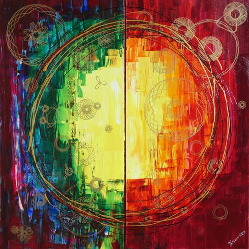 Trending art: Rainbow enso Abstract paintings A257 diptych