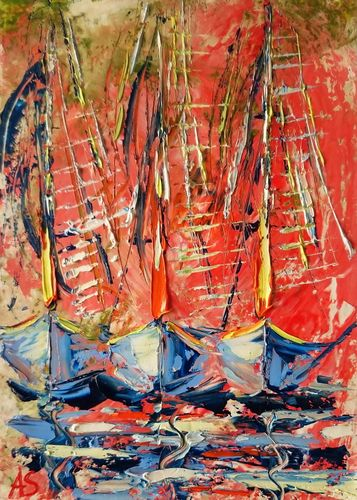 SHIPS #3; GIFT IDEA; ORIGINAL PALETTE KNIFE O