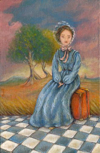 Girl with a Suitcase - Miniature Painting
