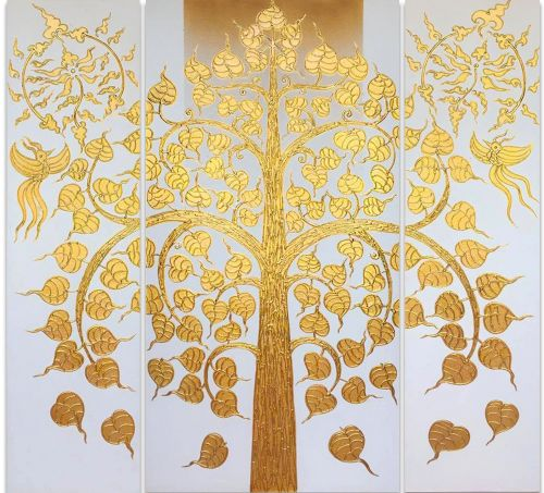 Golden Bodhi Tree Painting (White)