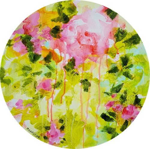 Floral poetry 1 - acrylic painting on round c