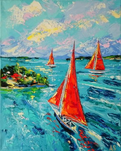 RED SAILING SHIPS; ORIGINAL SEASCAPE OIL PAIN