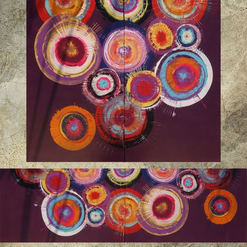 Purple abstract paintings diptych A104 circle