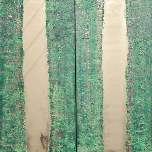 Abstract painting A248 green gold long art