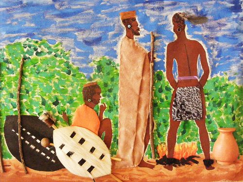 3D Two African tribes meeting
