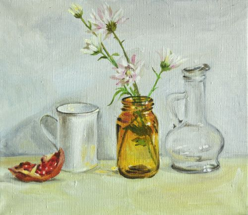 Still life with yellow glass bank.