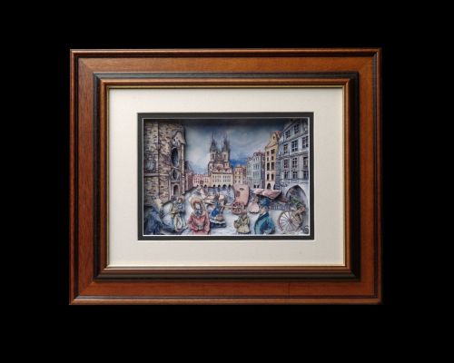 "Handmade 3D picture ""Old Prague"" [LIMITED NUM"