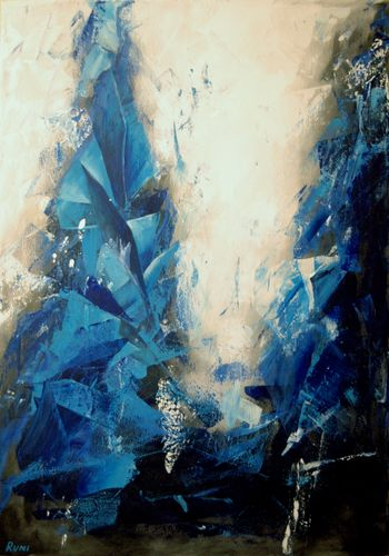 """The Blue Way VI"". Large abstract painting."