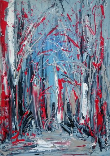 TREES; ABSTRACT LANSCAPE PAINTING