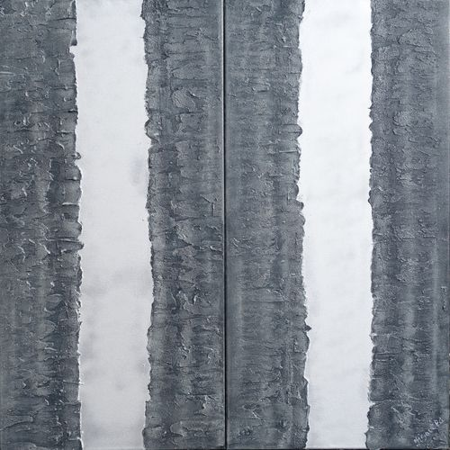 Silver steel textured abstract diptych A252