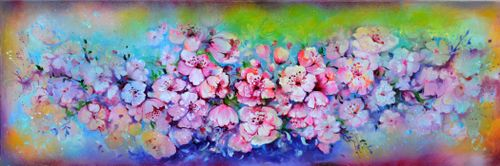 Spring Blossom Large Floral Abstract 150x50cm