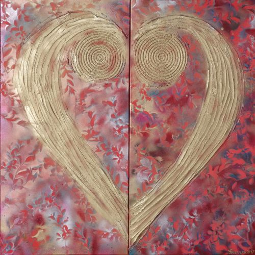 Gold heart red floral abstract diptych painti
