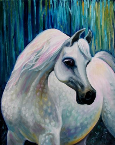 """Arabian Horse 24x30"""" Hand painted by Nadia By"""